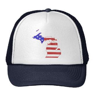 Michigan USA flag silhouette state map Trucker Hat