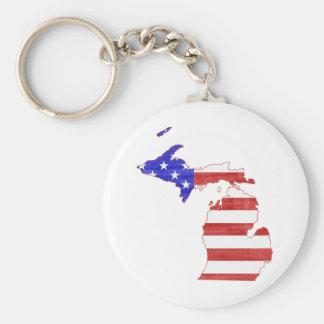 Michigan USA flag silhouette state map Key Chains