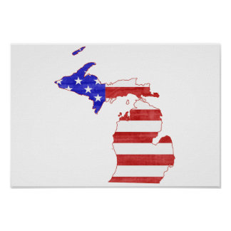 Michigan USA flag silhouette state map Poster