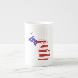 Michigan USA flag silhouette state map Porcelain Mug