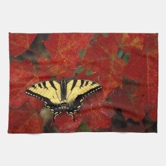 Michigan, Wetmore. Tiger Swallowtail on maple Tea Towel