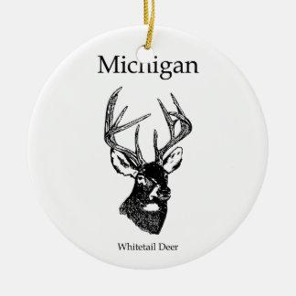 Michigan White Tail Deer Round Ceramic Decoration