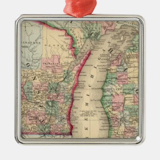 Michigan, Wisconsin Map by Mitchell Christmas Ornament