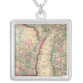 Michigan, Wisconsin Map by Mitchell Silver Plated Necklace
