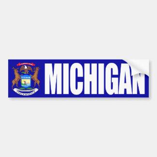 Michigan with State Flag Bumper Sticker