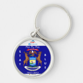 Michiganders Stay Blue ~ Silver-Colored Round Key Ring
