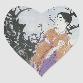 Michizane Composes a Poem by Moonlight Heart Sticker