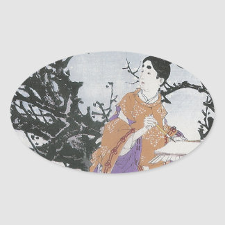 Michizane Composes a Poem by Moonlight Oval Sticker