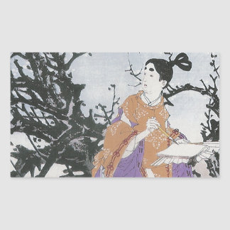 Michizane Composes a Poem by Moonlight Rectangular Sticker