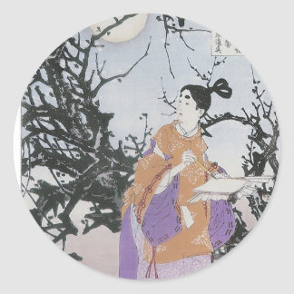 Michizane Composes a Poem by Moonlight Round Sticker
