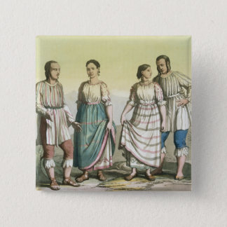 Michoacan Indians in Traditional Costume, Mexico ( 15 Cm Square Badge