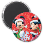 Mickey & Minnie With Snowflake Fridge Magnet