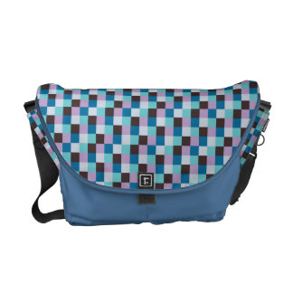 Micro Check Pattern Bright Blue Gray Purple Teal Commuter Bag