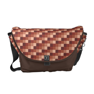 Micro Check Pattern in Chocolate Brown and Rust Courier Bag