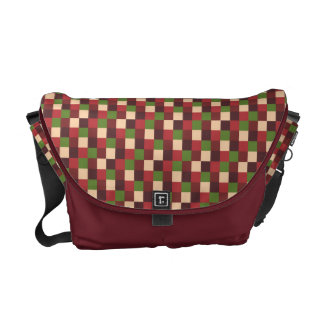 Micro Check Pattern Red Brick Olive Green Tan Commuter Bags