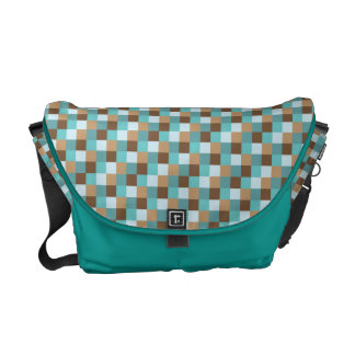 Micro Check Pattern Teal and Chocolate Brown Courier Bags