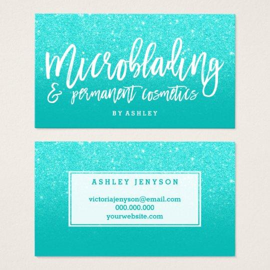 Microblading elegant typography faux aqua glitter business card