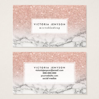 Microblading faux rose pink glitter white marble business card