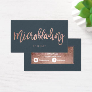Microblading rose gold typography charcoal business card