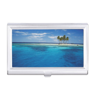 Micronesia, Tonowas, View of idyllic tropical Business Card Holder