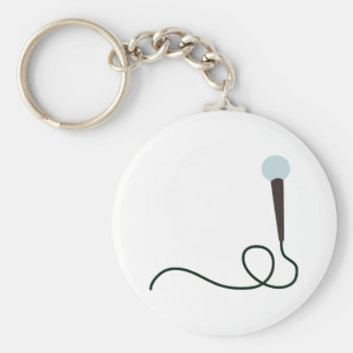 Microphone Basic Round Button Key Ring