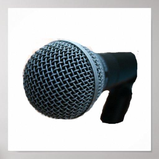 Microphone close up mic cutout design poster