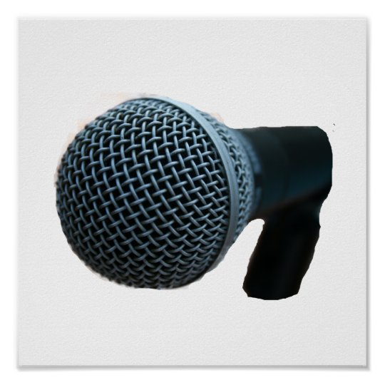 Microphone close up mic cutout design poster