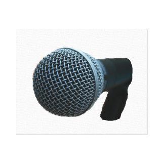 Microphone close up mic cutout design stretched canvas print