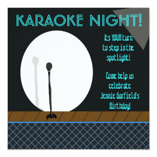 Microphone in Spotlight Karaoke Night Invitation
