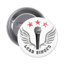 microphone lead singer never stop singing 6 cm round badge