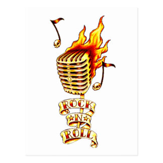 Microphone on fire postcard