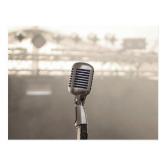 Microphone rock and roll postcard