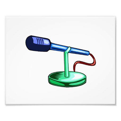 Microphone Small Stand Blue and Green Graphic Photo Art