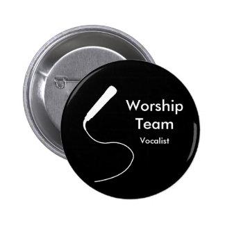 MicrophoneWhite, Vocalist, WorshipTeam 6 Cm Round Badge