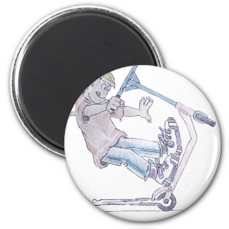 Microscooter wheelie cartoon micro scooter 6 cm round magnet