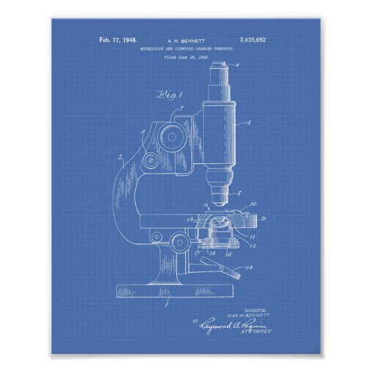 Microscope 1948 Patent Art Blueprint Poster