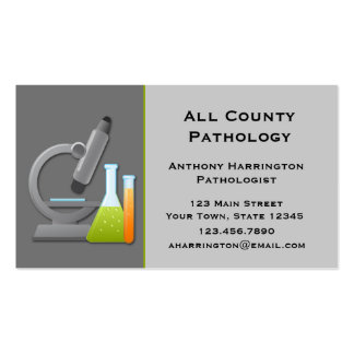 Microscope and Test Tubes, Gray Business Card