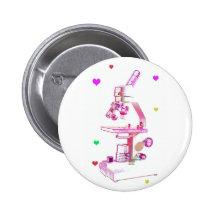 Microscope for Girls Pinback Button