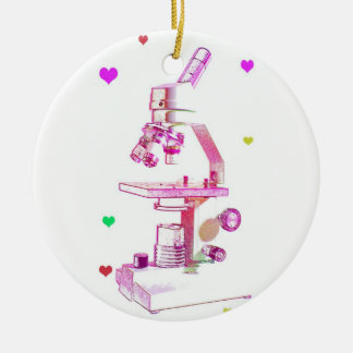 Microscope For Girls Round Ceramic Decoration