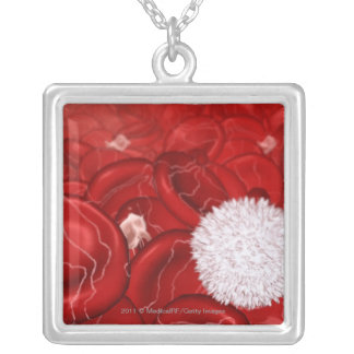 Microscopic look at blood cells silver plated necklace