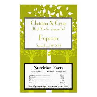 Microwave Popcorn Wrapper Modern Green/White Trees 14 Cm X 21.5 Cm Flyer