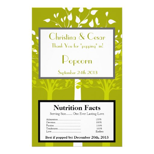 Microwave Popcorn Wrapper Modern Green/White Trees Flyer Design
