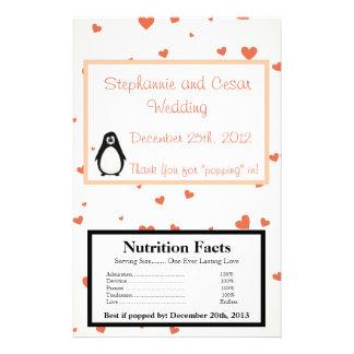 Microwave Popcorn Wrapper Penguin Love/Hearts Peac 14 Cm X 21.5 Cm Flyer