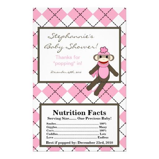 Microwave Popcorn Wrapper Pink Argyle Sock Monkey Personalized Flyer