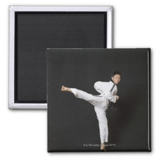 Mid adult man performing the side kick square magnet