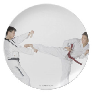 Mid adult man practicing kickboxing plate