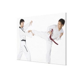 Mid adult man practicing kickboxing with a young canvas print