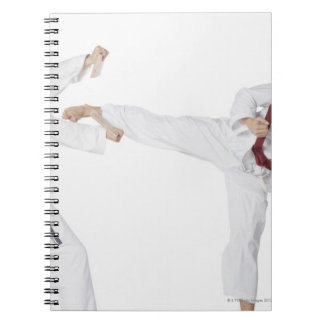 Mid adult man practicing kickboxing with a young notebook