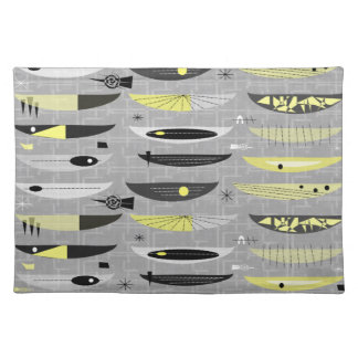 Mid-Century Abstract Yellow and Black Place Mat