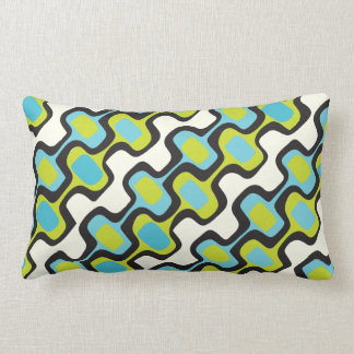 Mid-Century Aqua and Chartreuse Retro Pattern Lumbar Cushion